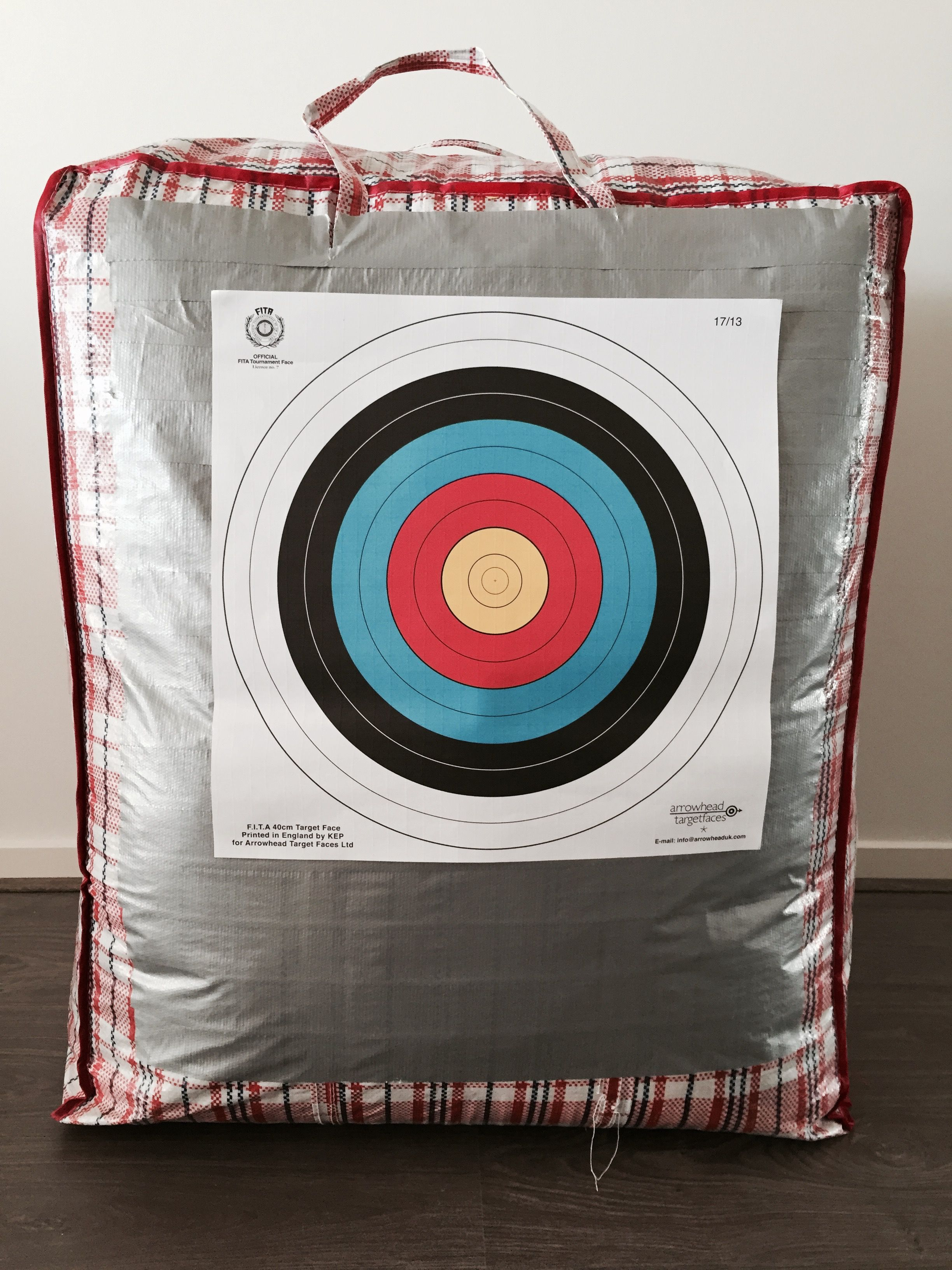 Homemade Archery Butt Made From Large Stripy Bag Stuffed With