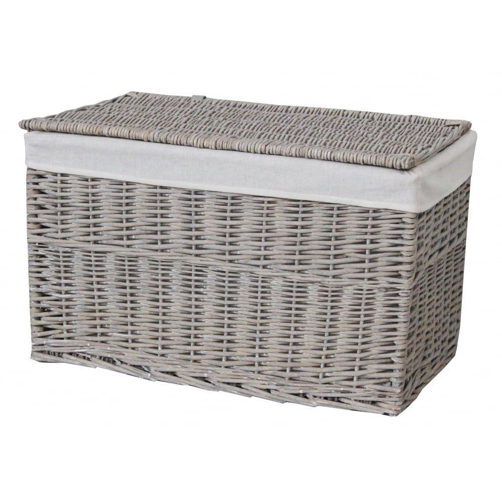 Superb Grey Wash Wicker Storage Trunk Basket