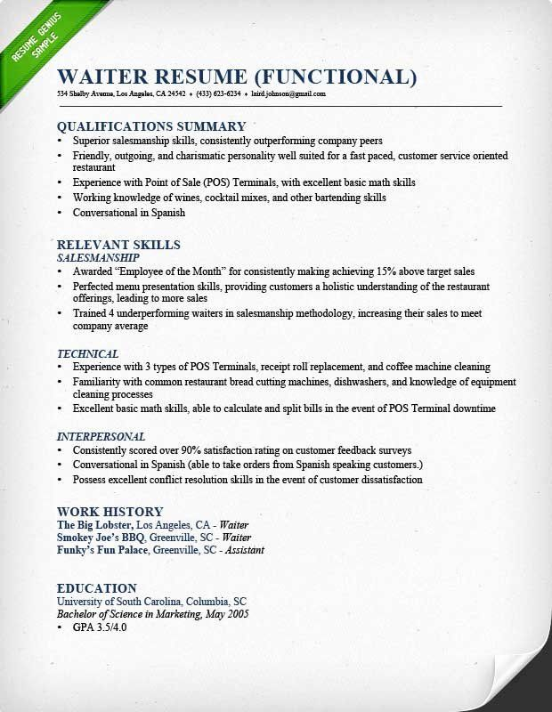 Waiter Job Description Resume Elegant Waiter Resume Sample