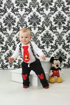 Mickey Mouse Birthday Tie and Suspender Bodysuit with Pants Baby Boy