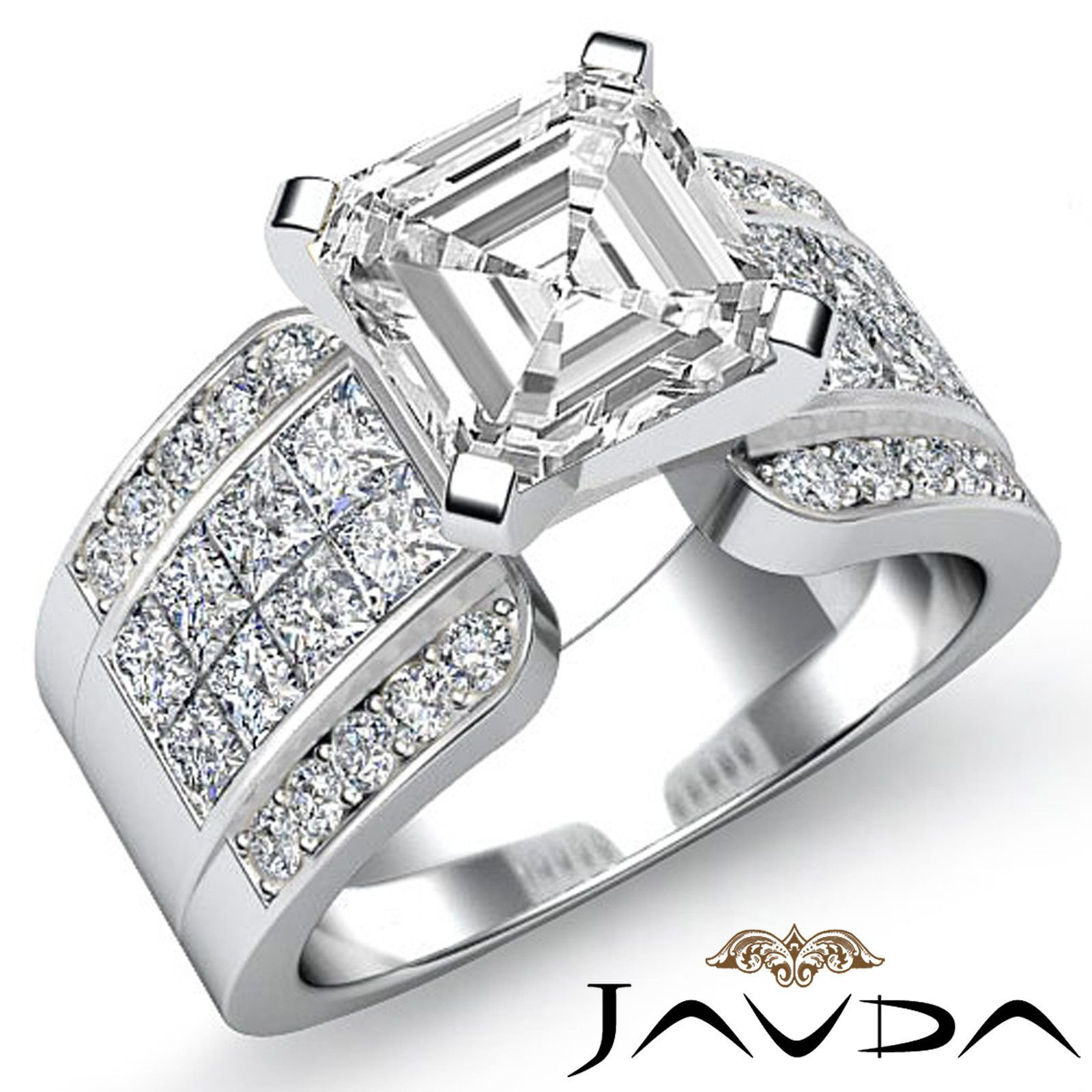 Asscher Diamond Invisible Set Engagement Ring GIA H VS2 14k White Gold 2 14 Ct