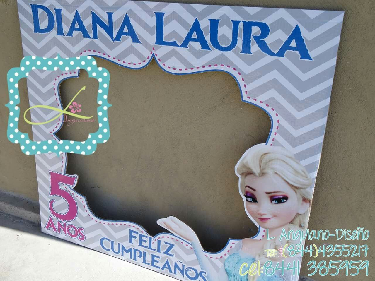 Marco para Fotos #frozen #elsa... Que tu evento sea divertido, búscame en Facebook como L Anguiano Diseño...  By Linda Anguiano hacemos envío a todo México