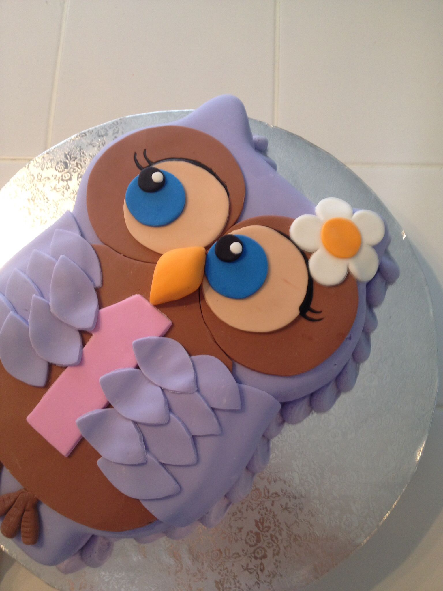 Owl First Birthday Cake Cake Dulces Creations Pinterest
