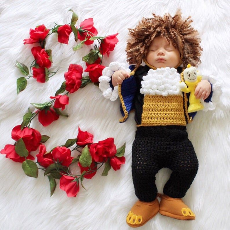 Beast Inspired Costume/Beauty and the Beast/Crochet Beast Hat/Disney Inspired Photo Prop Newborn to 12 Months- MADE TO ORDER #pictureplacemeant