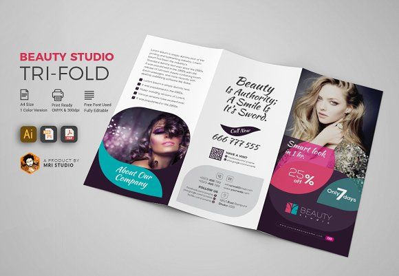 Beauty Studio TriFold  Professional Brochure Templates