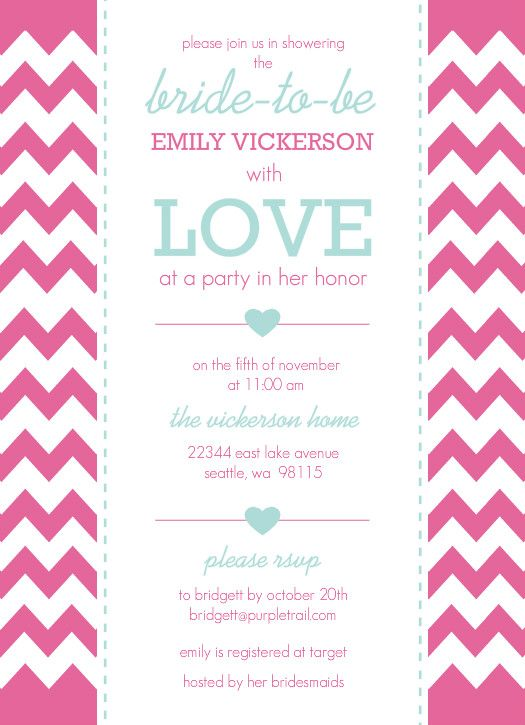 Aqua And Pink Chevron Bridal Shower Invite by PurpleTrail - best of birthday invitation card online maker