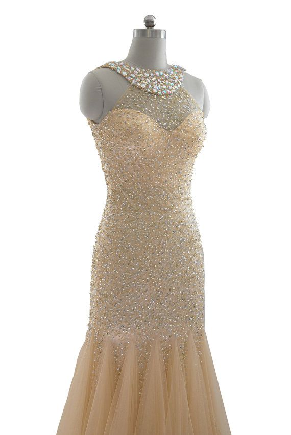 Women's Nude sequinned & beaded full length couture trumpet dress