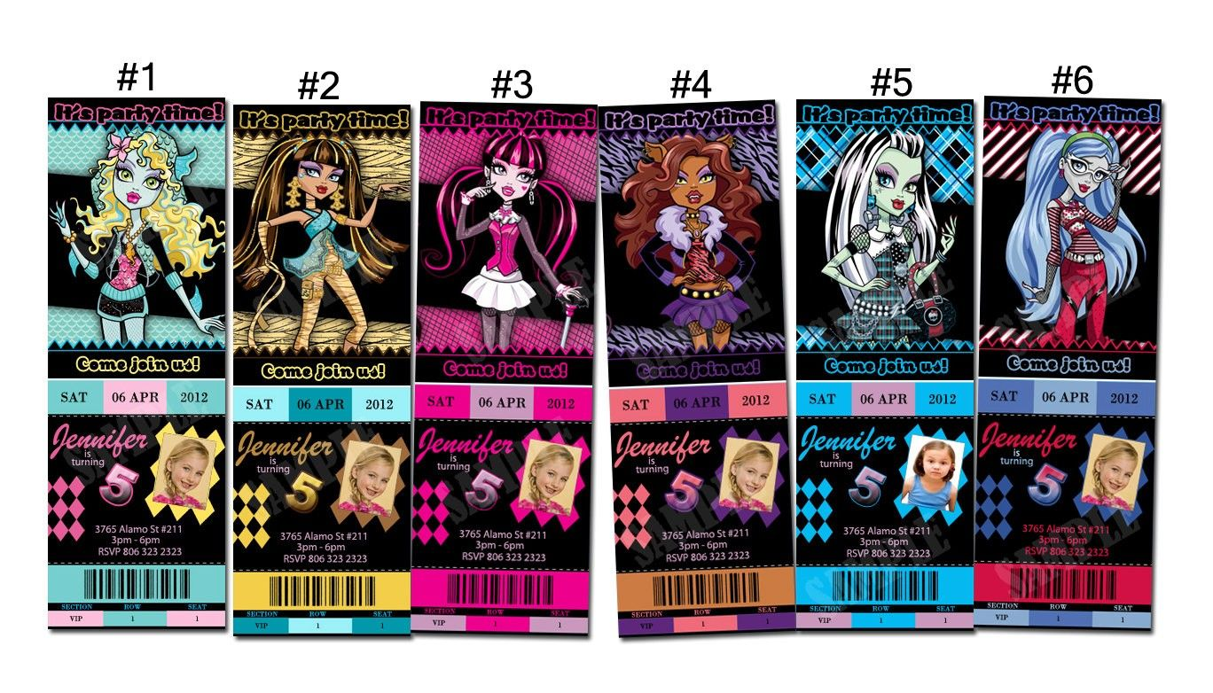 Ticket Birthday Party Invitations Printable Monster High Free ...
