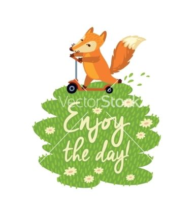 Funny card with cute fox in cartoon style vector typography by PenguinHouse on VectorStock®