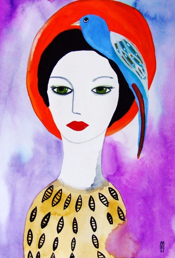 portrait original femme visage peinture par. Black Bedroom Furniture Sets. Home Design Ideas