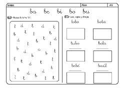 Fichas infantiles para aprender a leer y aprender a escribir con la letra B. Dibujos Lectoescritura con letra B para colorear. Letra_B_6