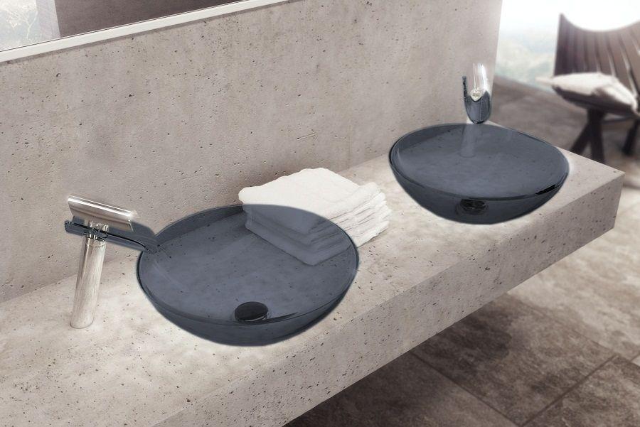 Sanitair-online.eu - Hoge watervalkraan met bijpassende waskom grafiet sol 218