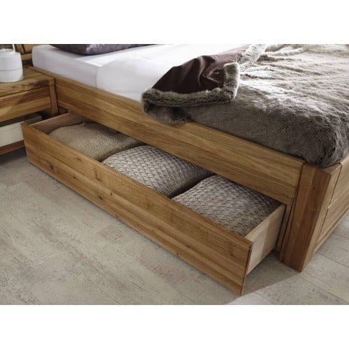 Komfortbett 180x200 cm Eiche massiv mit Bettkasten (с