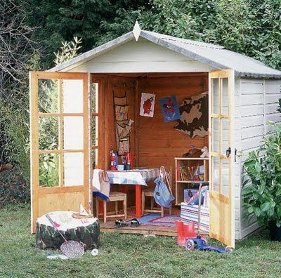 Shed Playhouse. if we are tight on space this is a great option. Maybe get another one for the bikes and wagons, etc.
