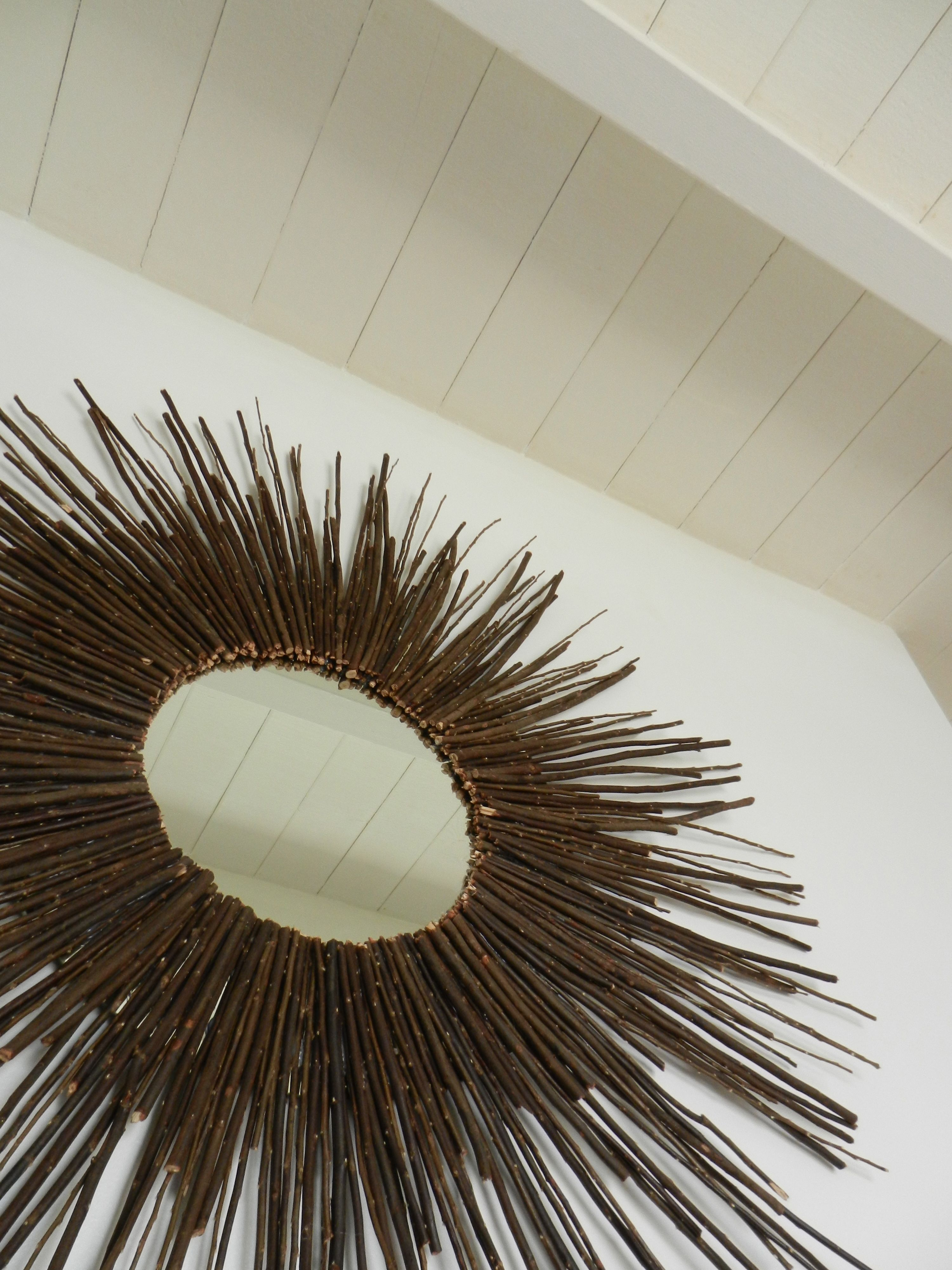 DIY Wood sun mirror: round mirror, 6 - 8 in twigs and ...