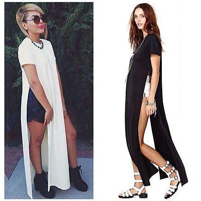 f87dee59a6c Sexy Hot Women Side High Slits Maxi Dress Casual Tee Long Top T-shirt Top  Blouse