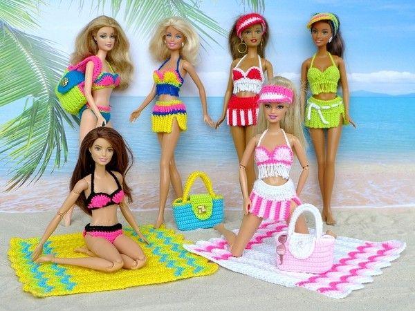 6 Häkelanleitungen: Strandmode für kleine Puppen | Barbie | Pinterest