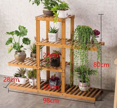 Premium bamboo wooden plant stand indoor outdoor garden for Muebles para plantas
