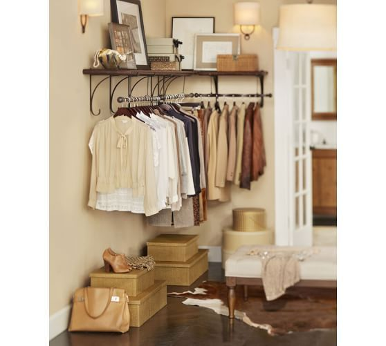 Peachy New York Wall Mount Wood Shelf With Metal Clothes Rod 2 Home Interior And Landscaping Ologienasavecom