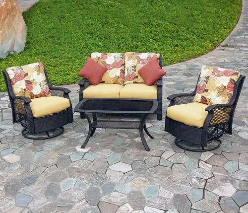 backyard creations 4 piece san paulo seating collection outside rh pinterest com Patio Furniture Glide Feet Inserts san paulo patio furniture costco