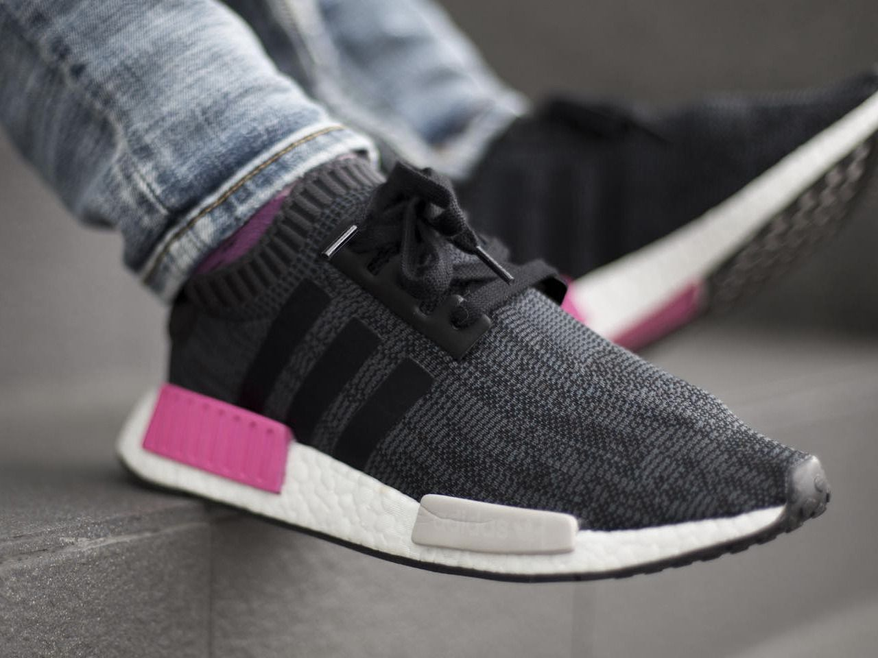 7d62fc579687e Adidas NMD R1 Primeknit - Black Shock Pink - 2017 (by Marcus Tan) Shoe  Trees by Sole Trees make customizing sneakers so much easier  ShoeTrees   ShoeTree   ...