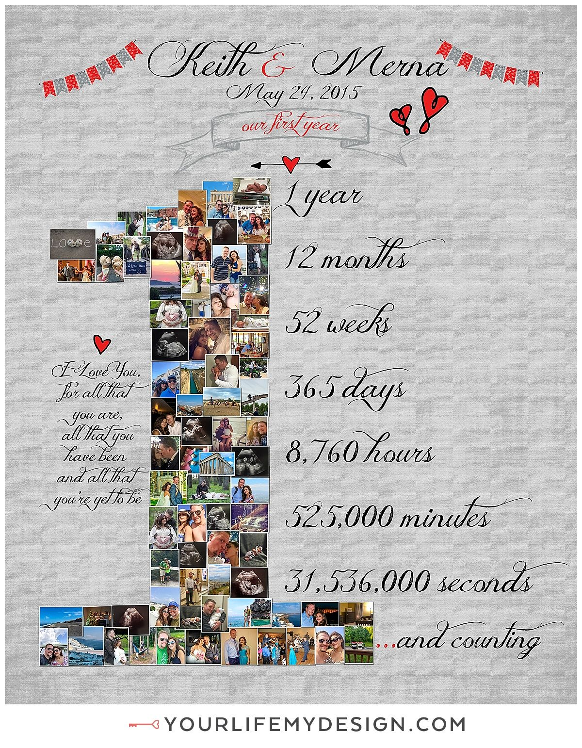 24x30 with 74 photos, one year anniversary number collage ❤ Website ...