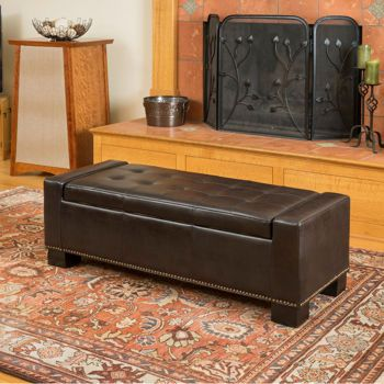 La Jolla Bonded Leather Storage Bench Home Furnishings