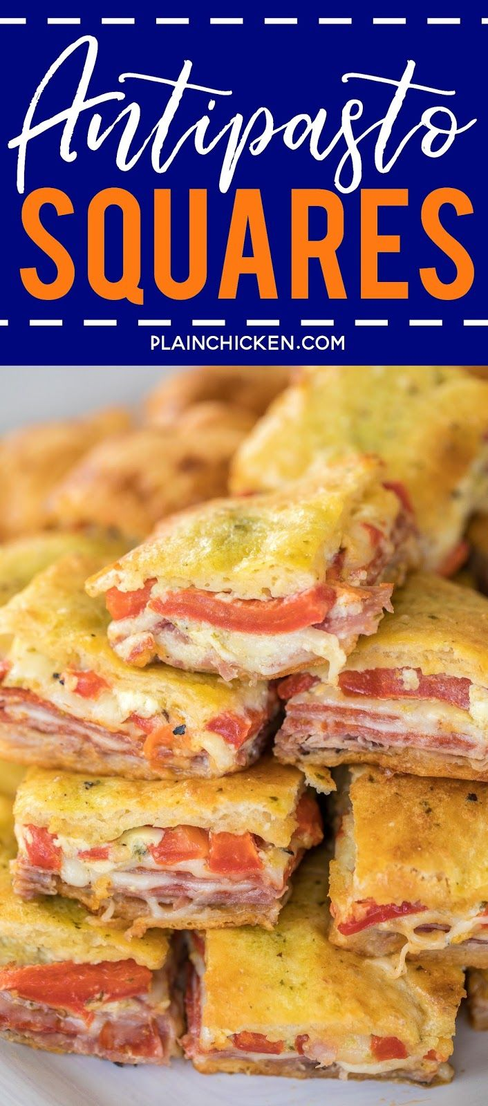 Antipasto Squares recipe - SO GOOD!! Crescent rolls stuffed with ham, salami, pepperoni, provolone, swiss, and roasted red peppers. then topped with a parmesan cheese, egg and pesto mixture and baked. These things are ridiculously good!!! There are never any leftovers when I take these to party! #appetizer #partyfood #crescentrolls #antipastosquares