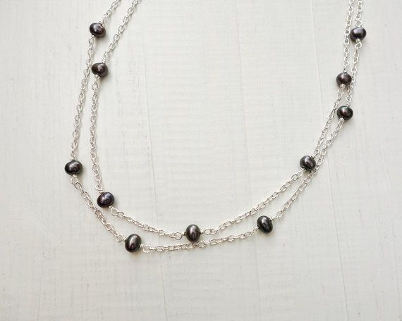 Double chain necklace grey freshwater pearls women's by tline