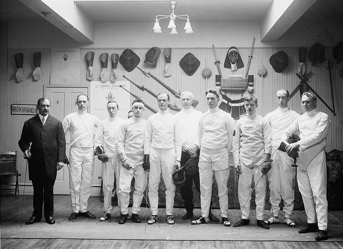 Darieulat and students of the Washington Fencing Club somewhere after 1914. Library of Congress