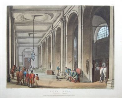 KING'S MEWS,HORSES CHARING CROSS, ACKERMANN,MICROCOSM, LONDON antique print 1808 An interior view of the Royal stables and horses at the King's Mews in Charing Cross, London. The title of mews originates from its former use by the royal falconers.