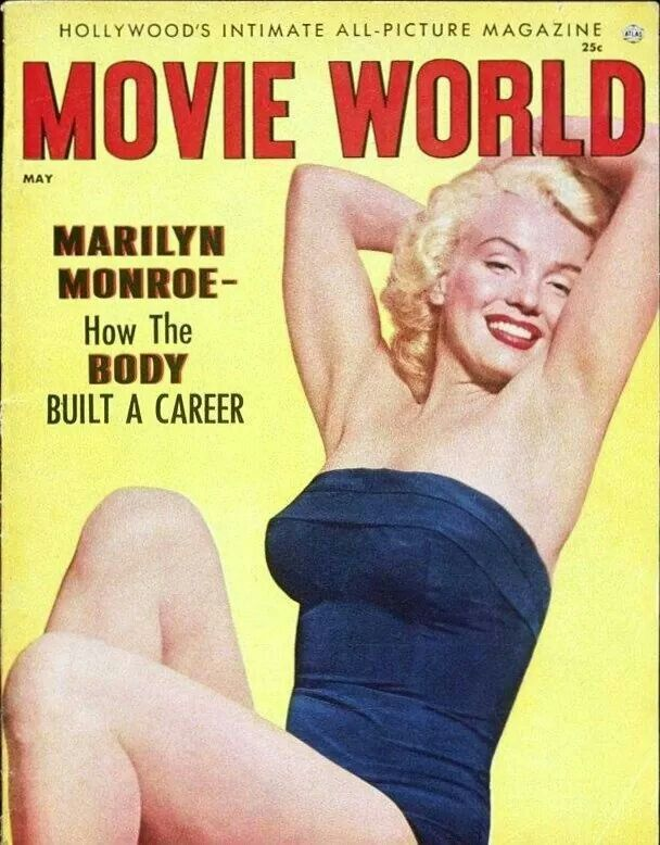 Marilyn Monroe on the cover of Movie World magazine, May 1954.
