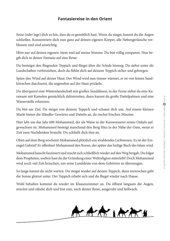 Fantasiereise In Den Orient Biografie Mohammed Unterrichtsmaterial Im Fach Ethik Fantasiereisen Fantasie Entspannungsmusik