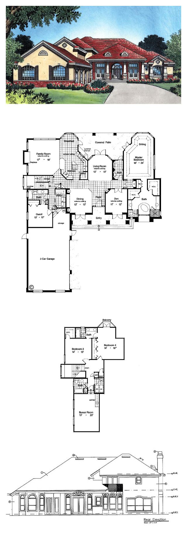 Luxury house plans total living area sq ft