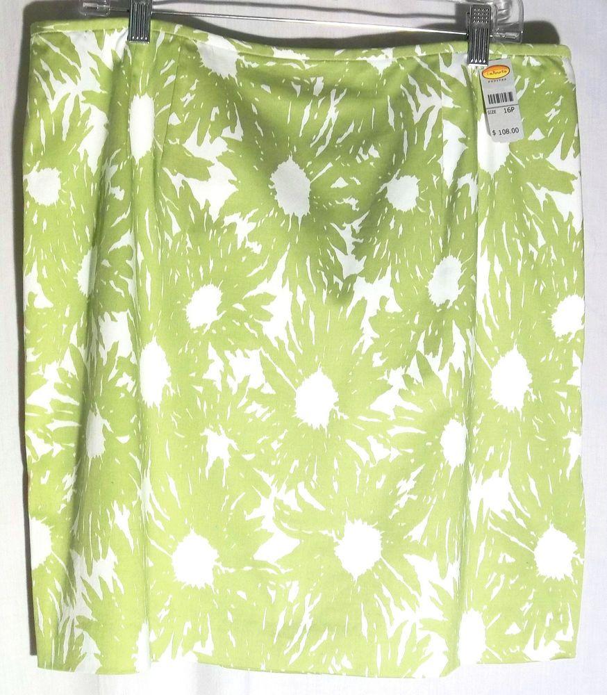 New TALBOTS Green Apple-White Cotton Straight Skirt - Side Split - 16P -Ret $108 #Talbots #Straight #Skirt #Green #White #16P