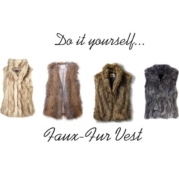 DIY Faux-fur vest!! Here's what you'll need: * 1-2 yards of Faux Fur * Measuring tape * Pen * Scissors * Needle and thread • Step 1: Lay your fabric stretched out on the ground… (To make this vest...