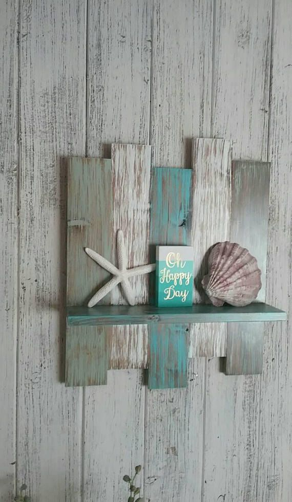 Photo of Nautical Decor Nautical Shelf, Beach Decor Beach Shelf, Coastal Decor Shelving, Beach House Decor Shelves, Wood Shelf Wooden Shelf,