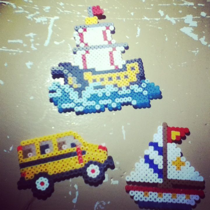 Sail boat, pirate ship and a school bus perler beads by Tiara Cunningham