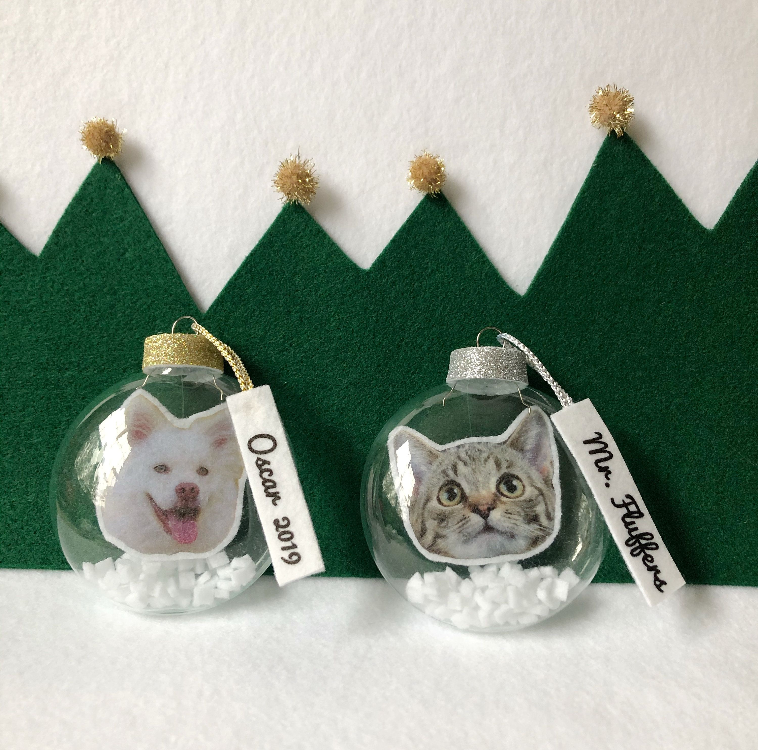 Photo And Name Personalized Pet Snow Globe Ornaments Christmas Ornaments Eco Friendly Recyc Cheap Christmas Gifts Diy Xmas Ornaments Christmas Ornaments