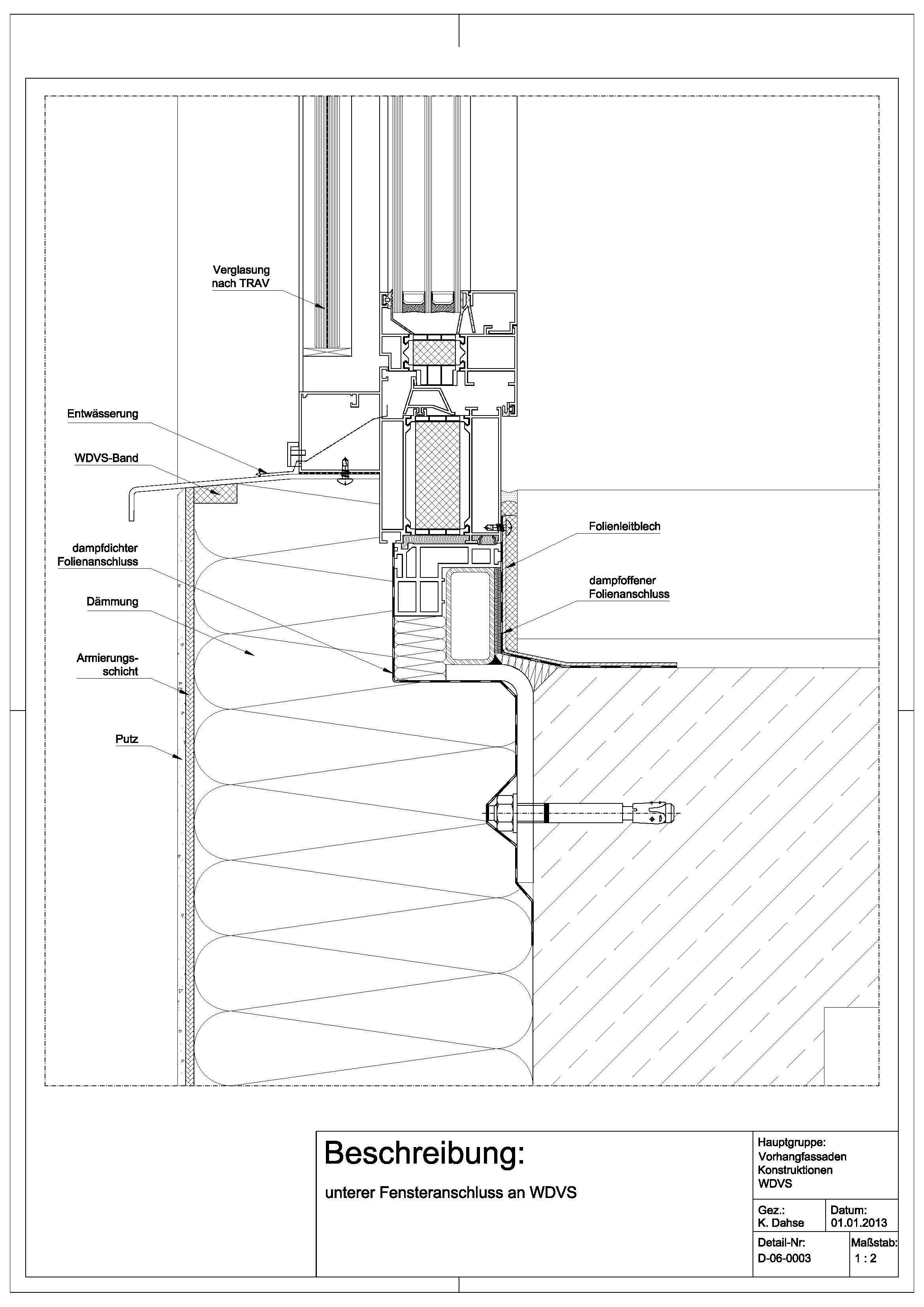 d 06 0003 unterer fensteranschluss an wdvs architektur architektur schnittchen und wdvs. Black Bedroom Furniture Sets. Home Design Ideas