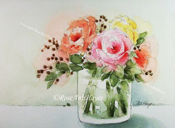 Célèbre Bouquet of Roses Print of Watercolor Painting Flowers Floral  KG25