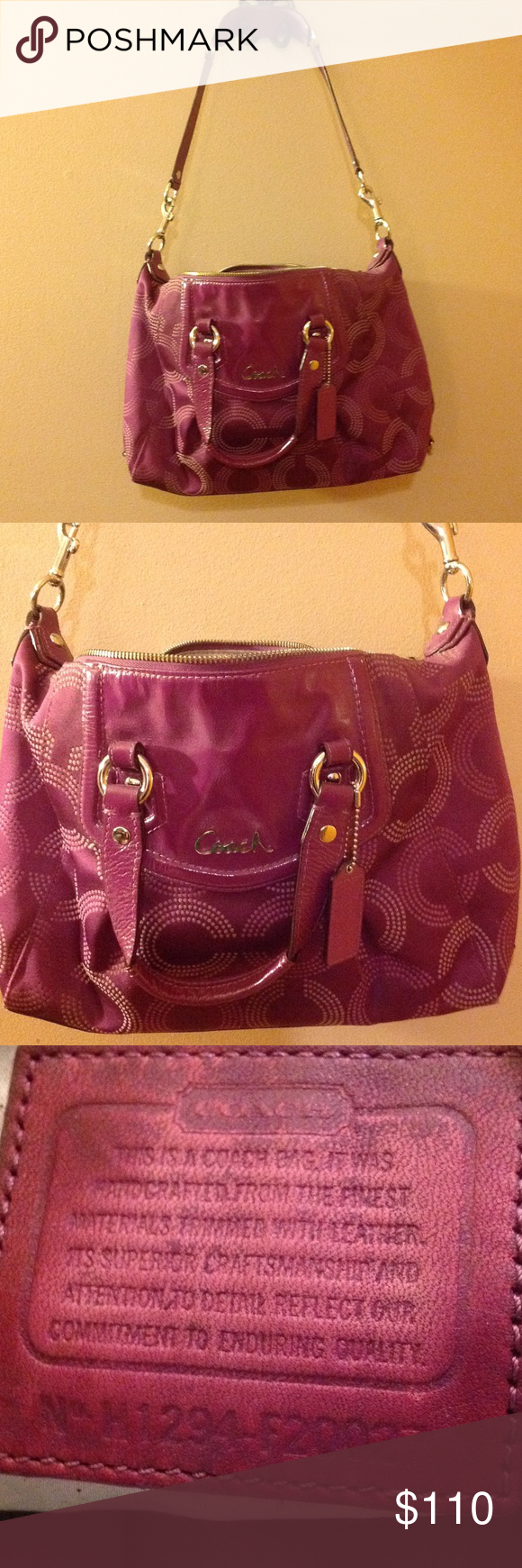 Authentic Coach Fuschia Purple Handbag Rare Underarm Made By Some Very Minor Wear On The Bottom And Pen Marks Grey