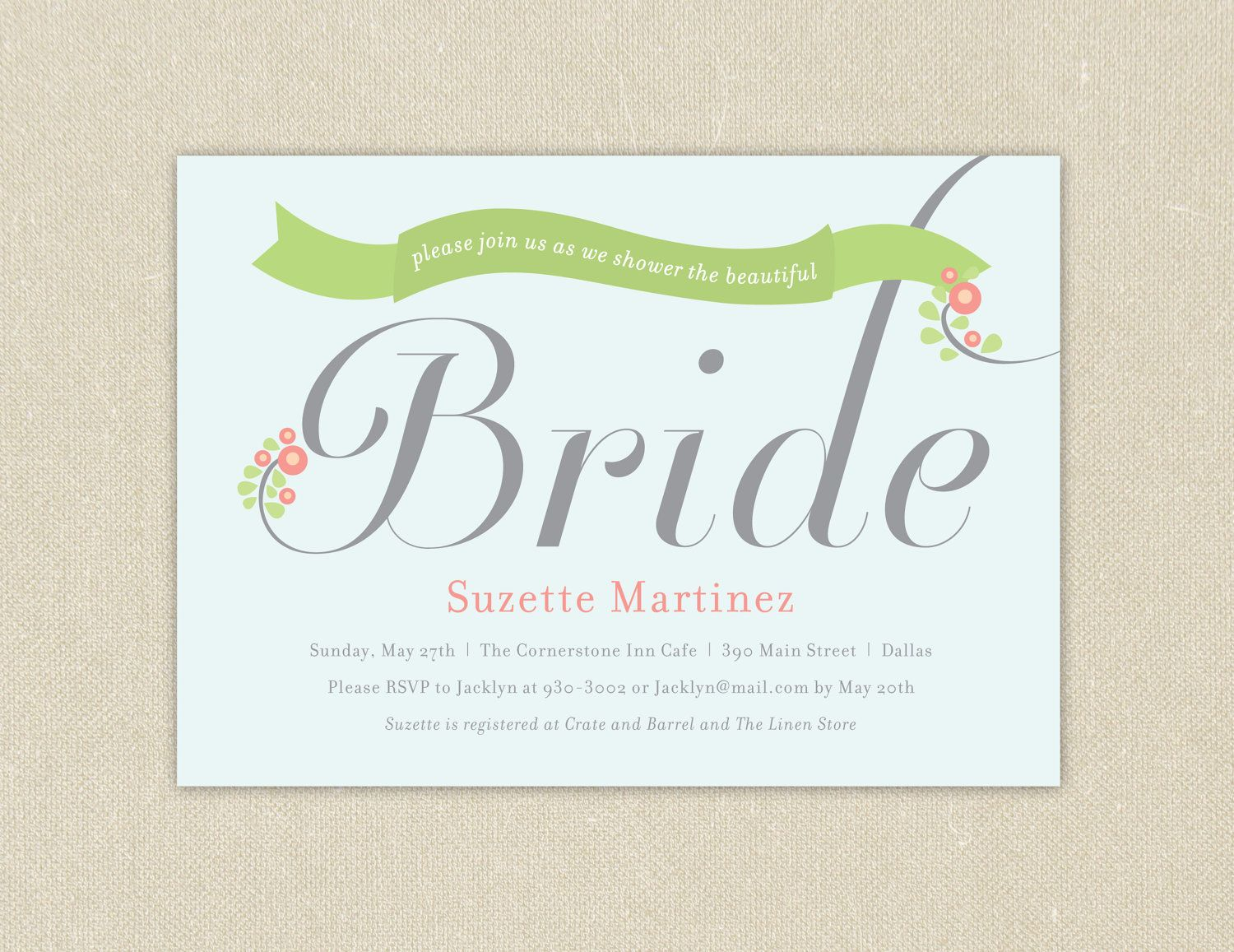 Bridal Shower Invitations Bridal Banner Printable  Via