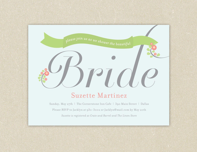 Bridal Shower Invitations Bridal Banner Printable  Via