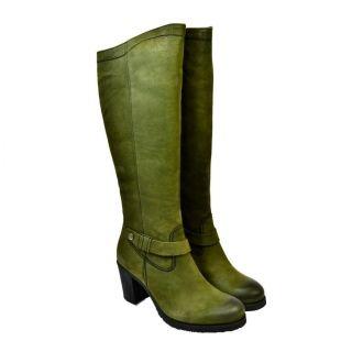 6c62f34b2cb51 Dámske zelené kožené čižmy ROTA - 1 | obuv | Obuv