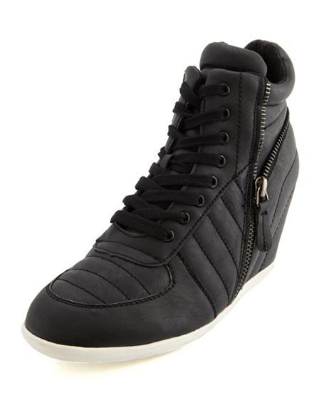 7d3ef538702e Quilted Side Zip Wedge Sneaker  Charlotte Russe
