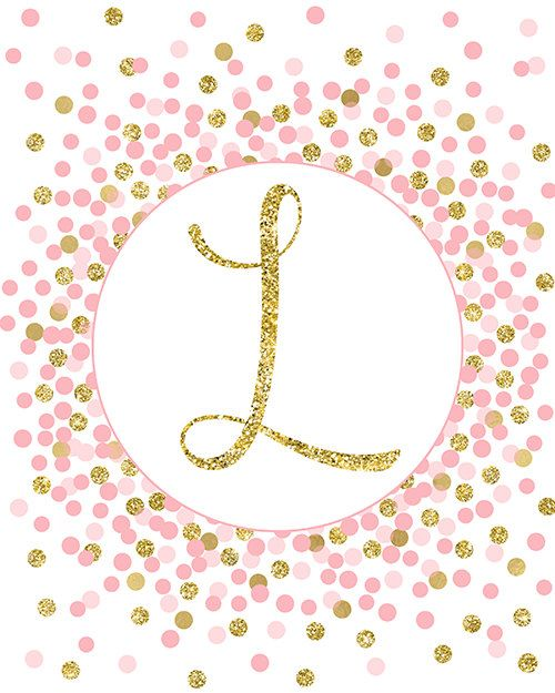 Initial Print Letter L Print Gold Pink Nursery Decor Pink Gold