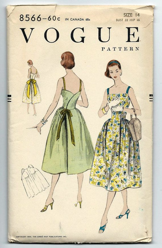 Vintage 50s Vogue 8566 Misses Back Wrap Bare Bodice Party Dress ...