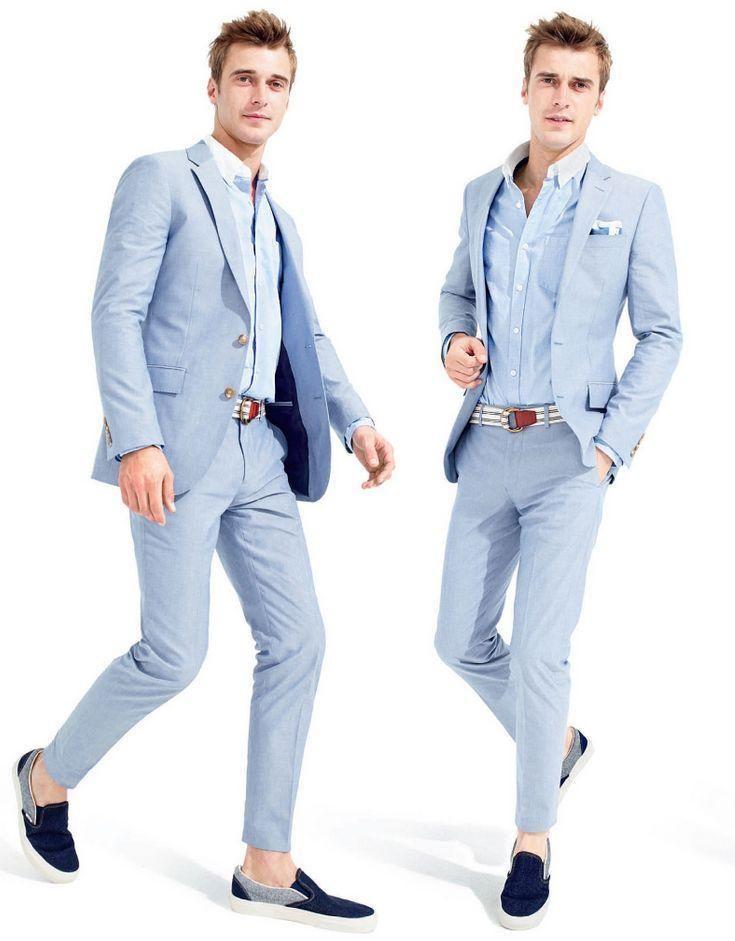 0108817706eca1 Summer Light Blue Men Wedding Suits Casual Peaked Lapel Grooms Tuxedos Two Piece  Men Suits Slim Fit Two Button Groomsmen Suit Jacket Pants Online with ...