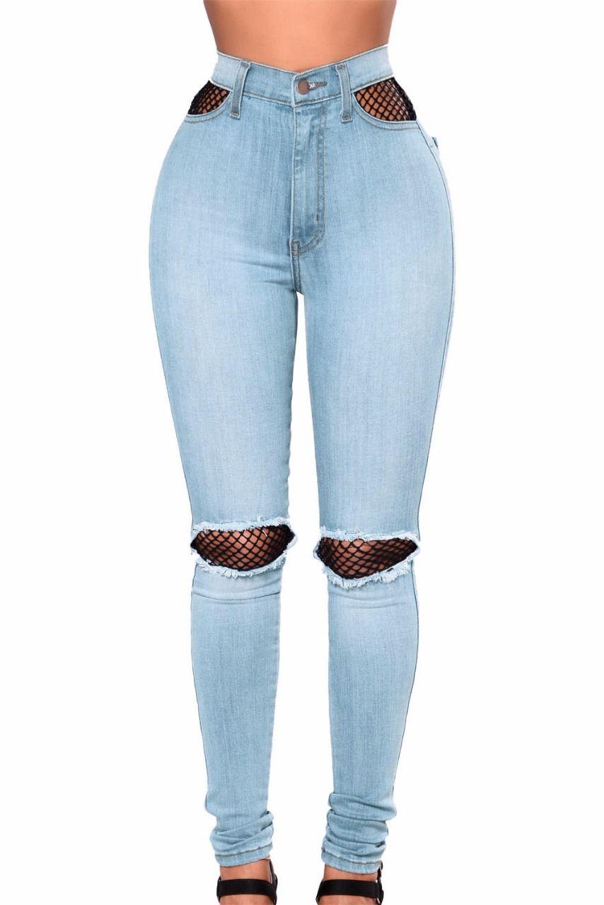 c8de7f4acd8d Pantalon jeans slim déchiré bleu ciel résilles
